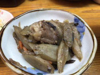 ウエダの日替わり定食での小皿メニューキンピラごぼう