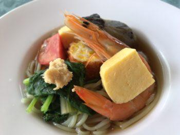 グランソール奈良の人間ドック後の食事「ずんだめん夏野菜添え」