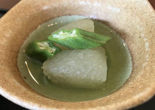 グランソール奈良の人間ドック後の食事・冬瓜とオクラの煮浸し